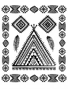 Coloriage indien d amerique symboles abstraits et plumes