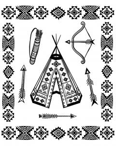 coloriage-indien-d-amerique-tipi-et-armes-traditionnelles free to print