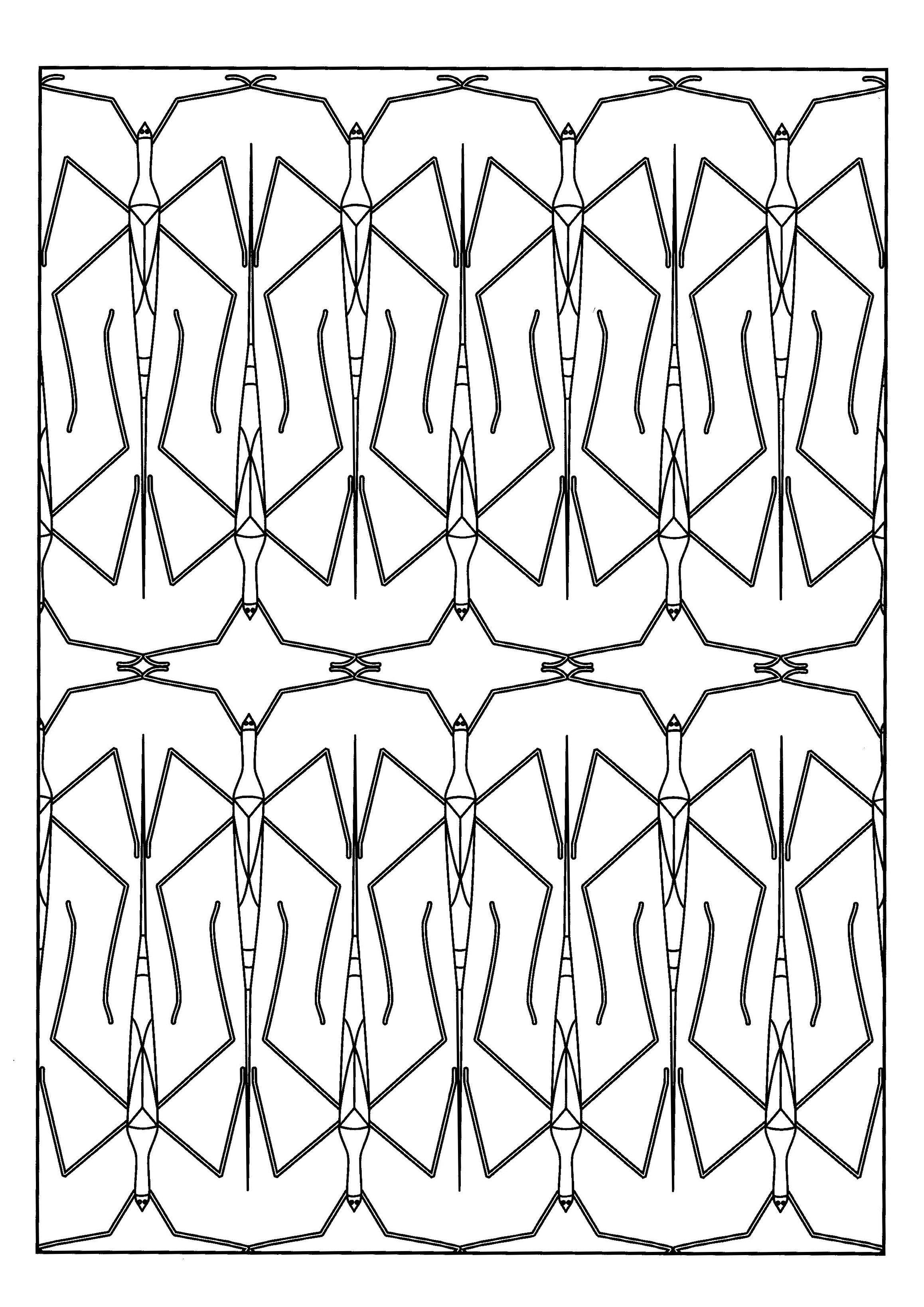 Un coloriage fait à partir des phasmes, ces insectes qui passent inaperçus car ressemblant à des branches ...