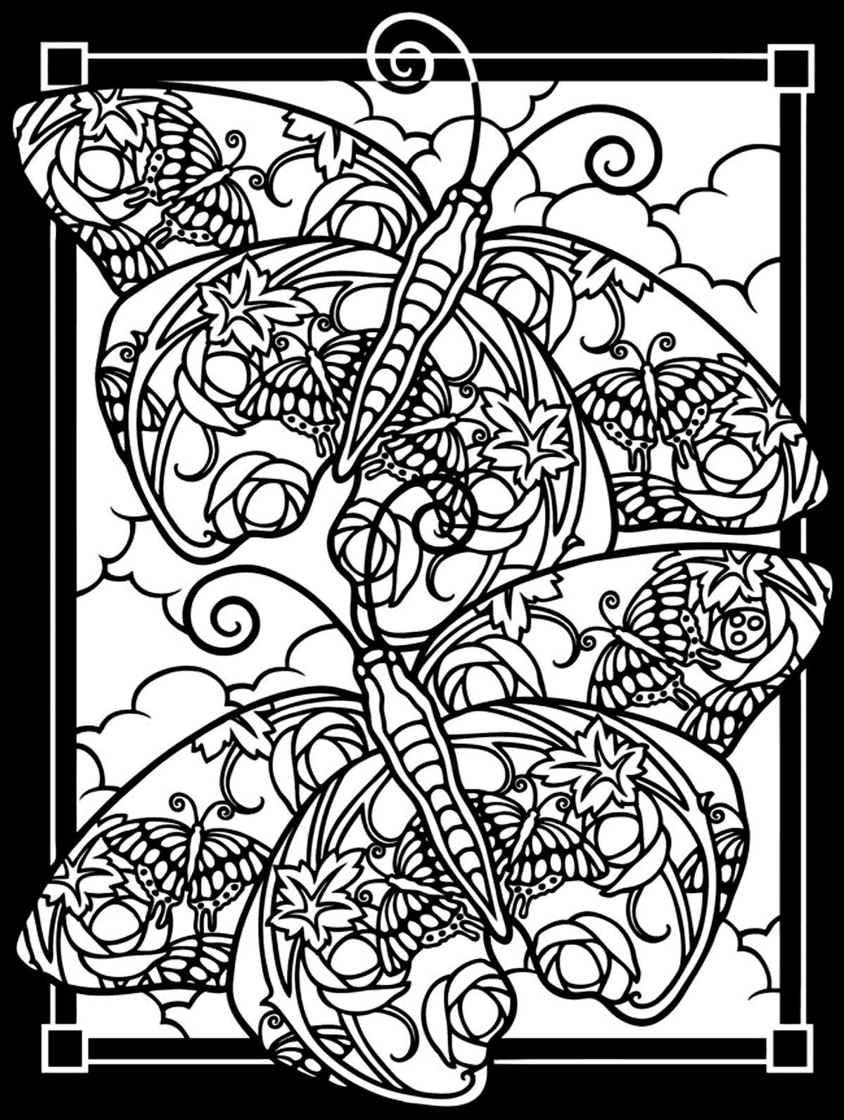 Coloriage Adulte Fond Noir.Deux Papillons Fond Noir Papillons Insectes Coloriages