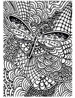 Coloriage d'un Papillon sur formes abstraites mais néanmoins harmonieuses