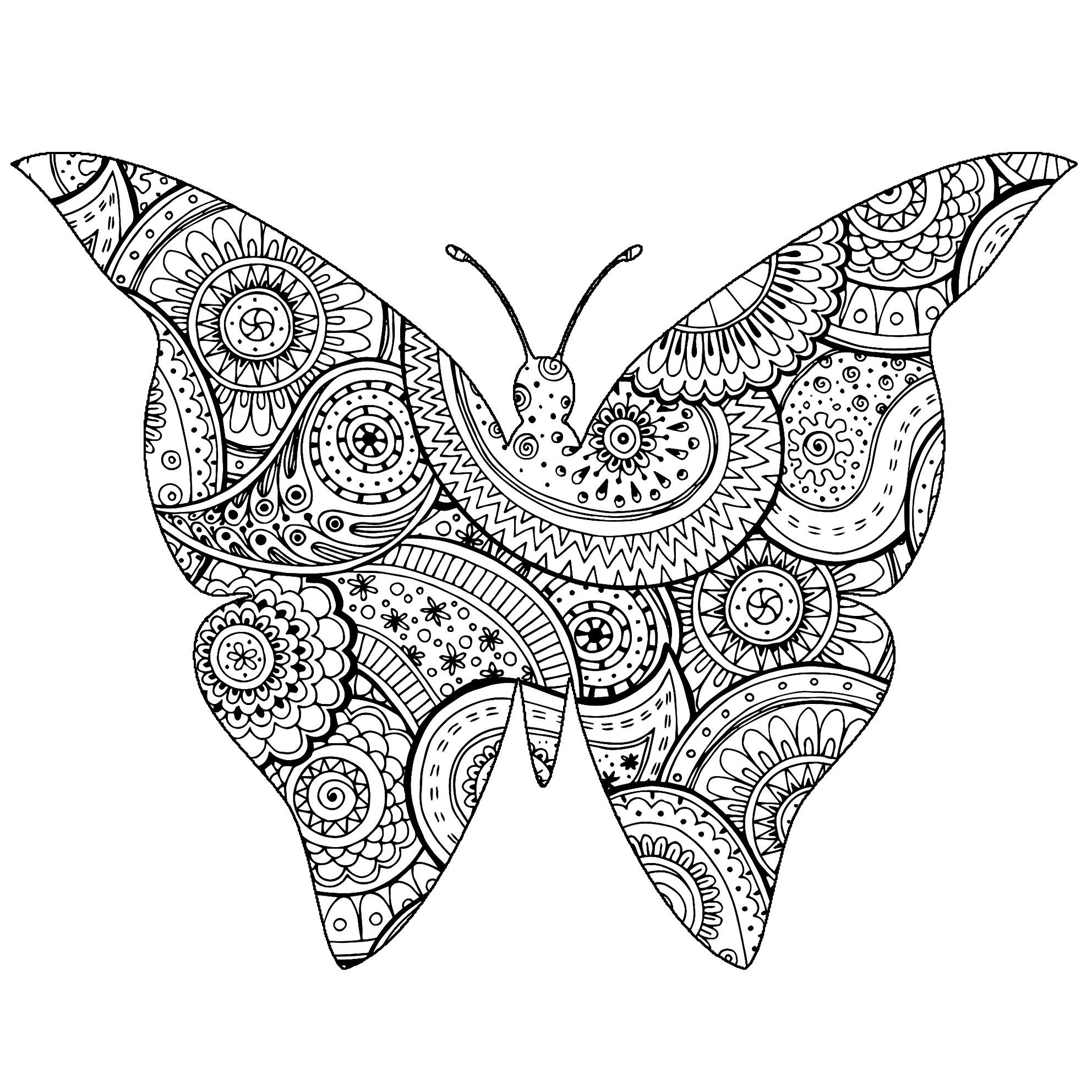 Joli Papillon avec motifs Zentangle et Paisley à colorier