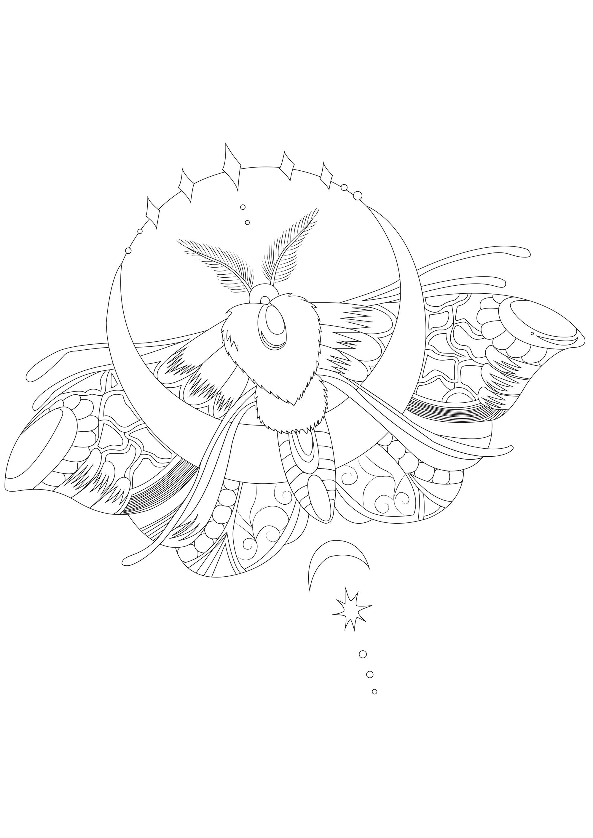 Joli papillon de nuit réaliste avec de jolis détails à colorier