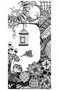 coloriage-adulte-animaux-papillon-oiseau free to print