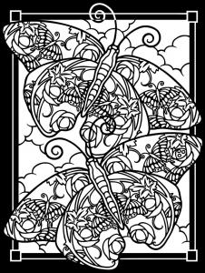 Coloriage adulte difficile deux papillons fond noir