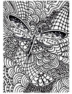 Coloriage adulte difficile papillon 15