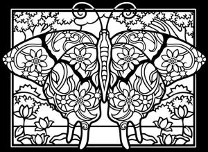 Coloriage adulte difficile papillon fond noir