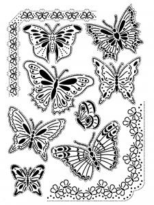 coloriage-adulte-difficile-papillons-vintage free to print