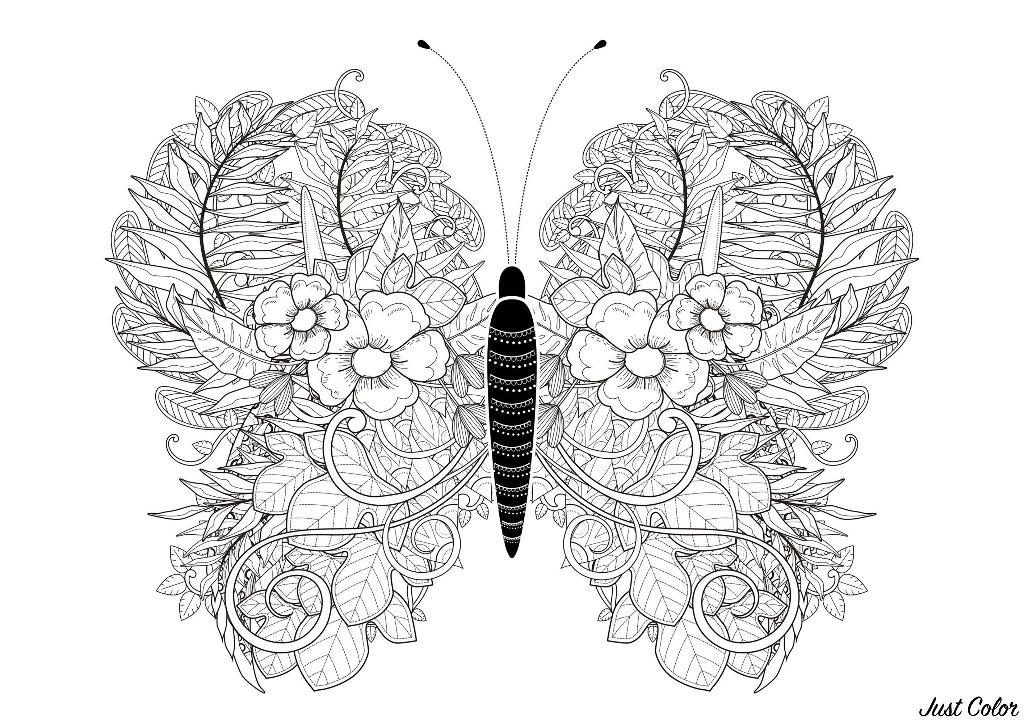 Les ailes de ce papillon sont dessinées avec des fleurs et des feuilles