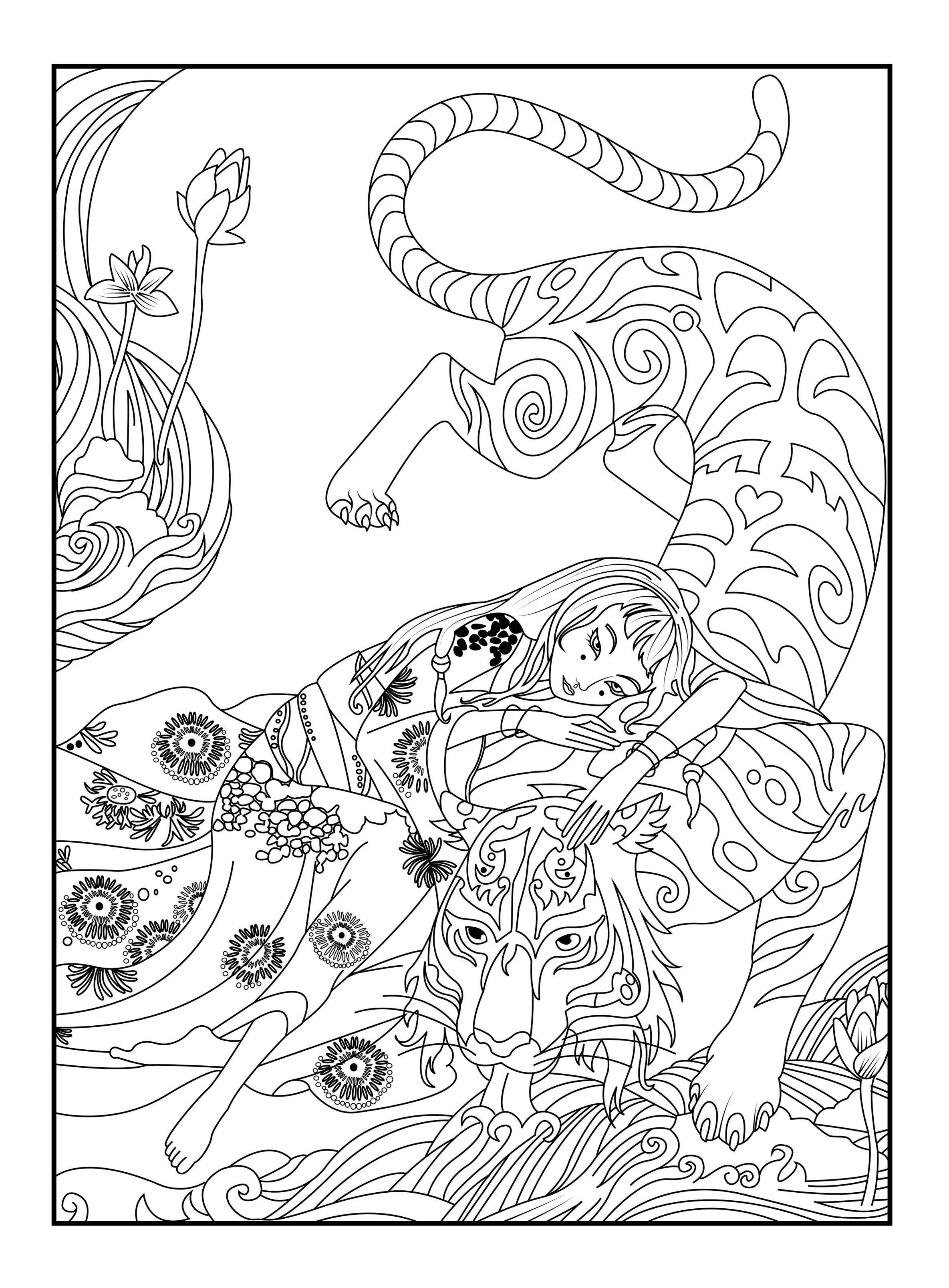 Voici le coloriage réalisé par Céline mettant en avant un tigre et une japonaise
