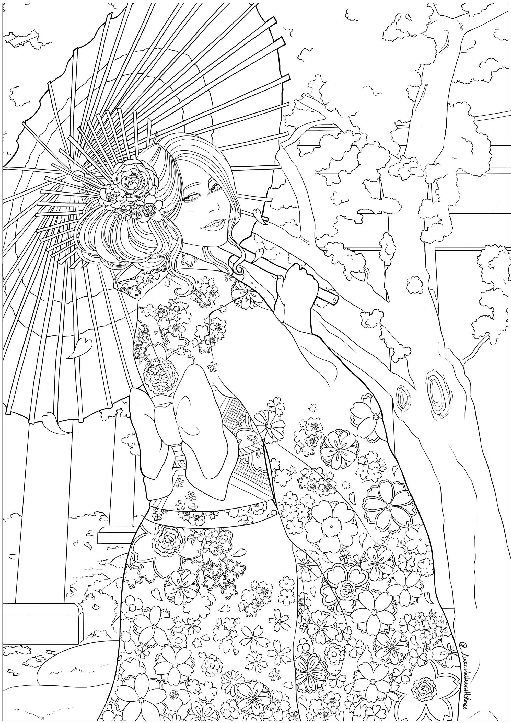 Une jeune femme élégante devant un temple et des cerisiers en fleurs, ayant sorti son plus beau yukata. Dessin célébrant le Hanami, le festival du printemps japonais.