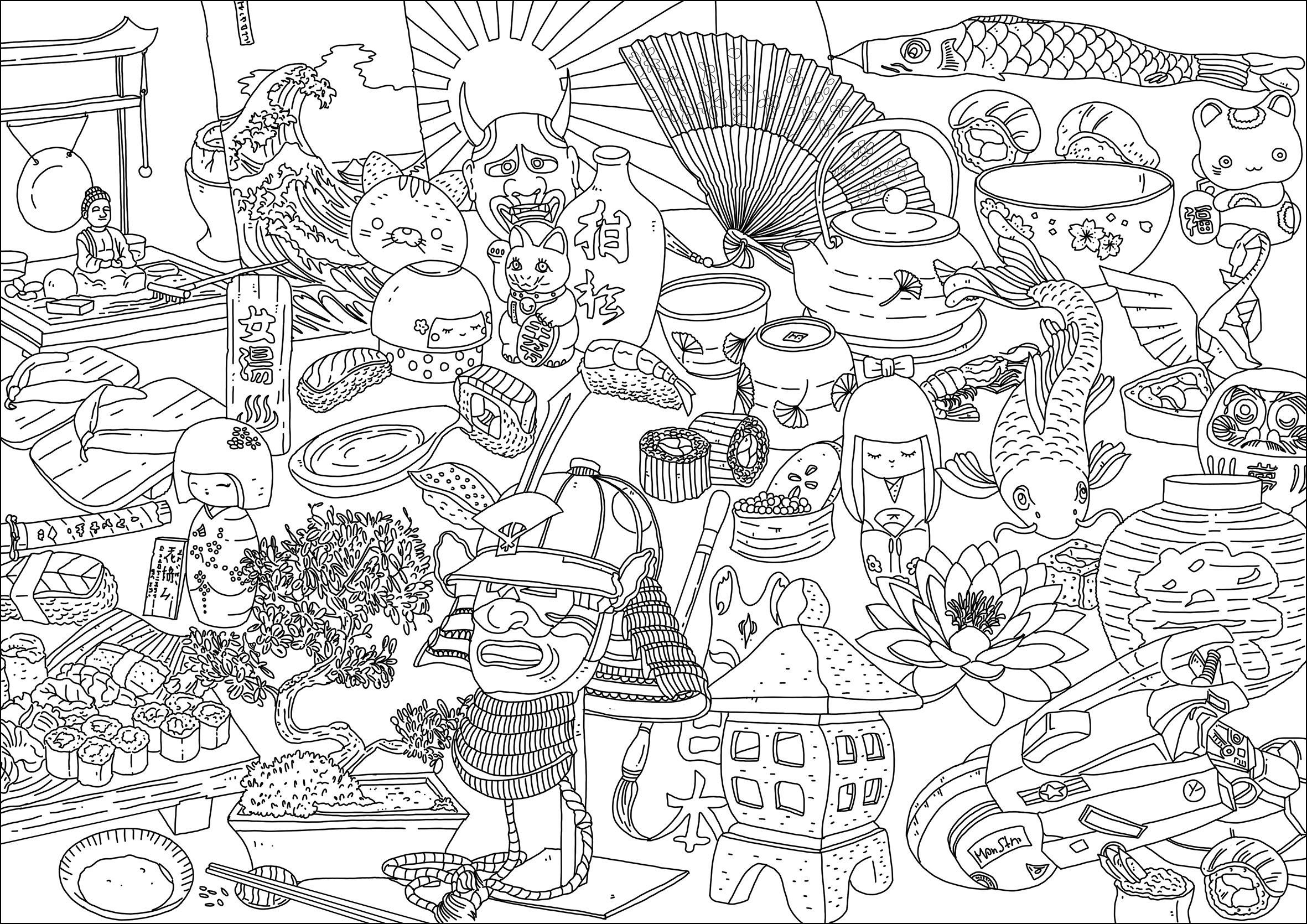 Différents symboles du Japon. Maneki neko, masques, Bonsaï, statuettes, truite, lotus, grande vague, drapeau, sushis ...
