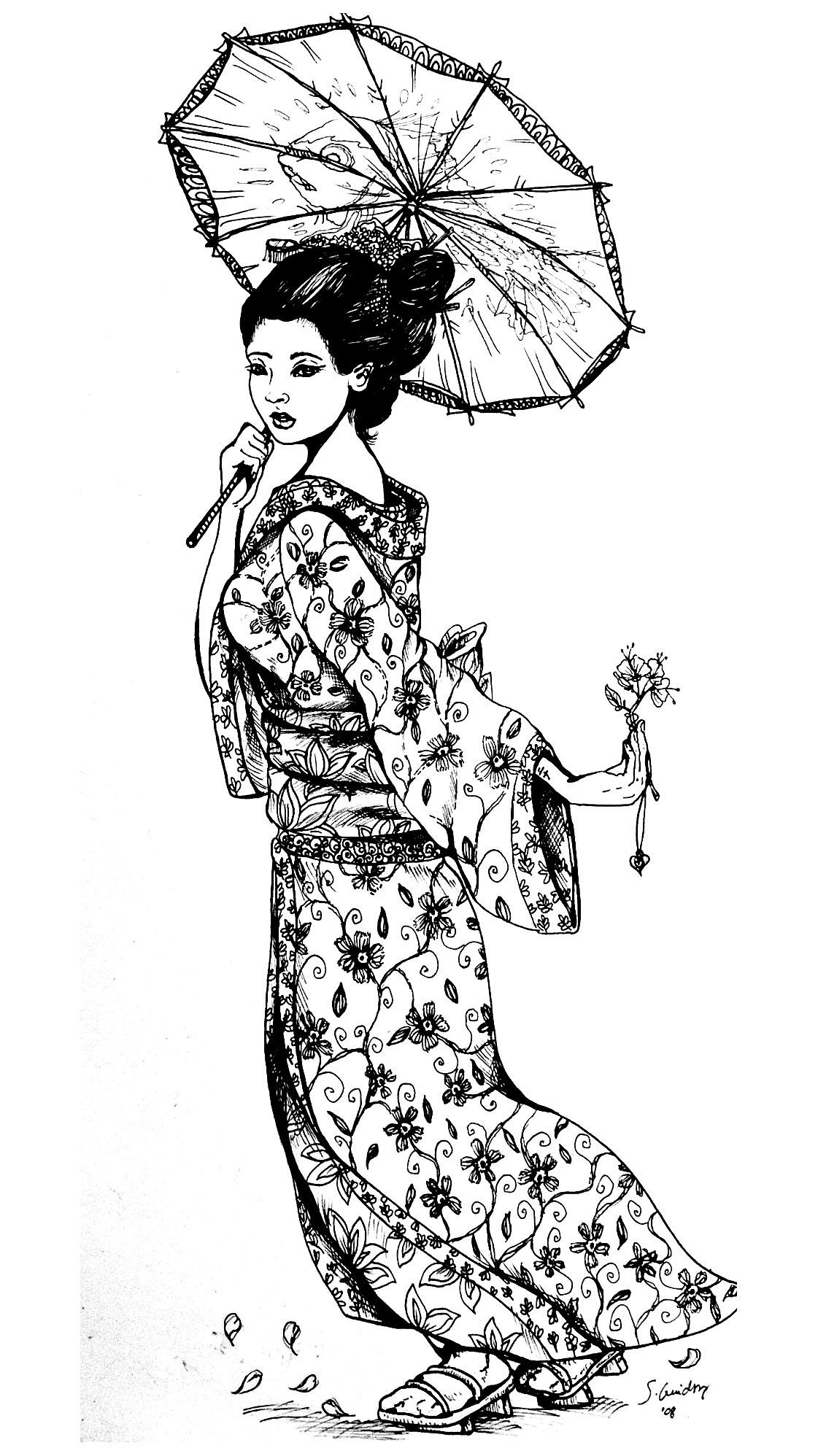 geisha japonaise tatouage japon coloriages difficiles pour adultes. Black Bedroom Furniture Sets. Home Design Ideas