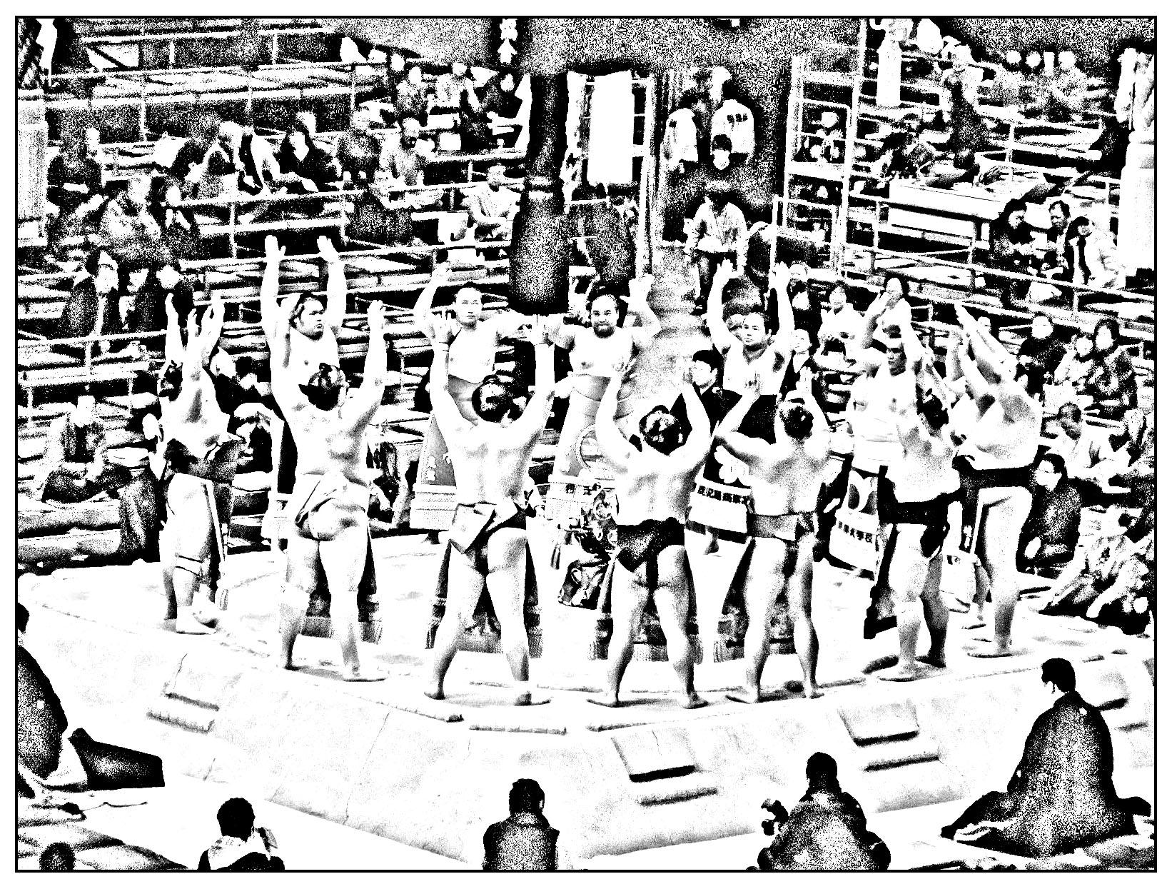 Coloriage de sumos réunis sur l'arène