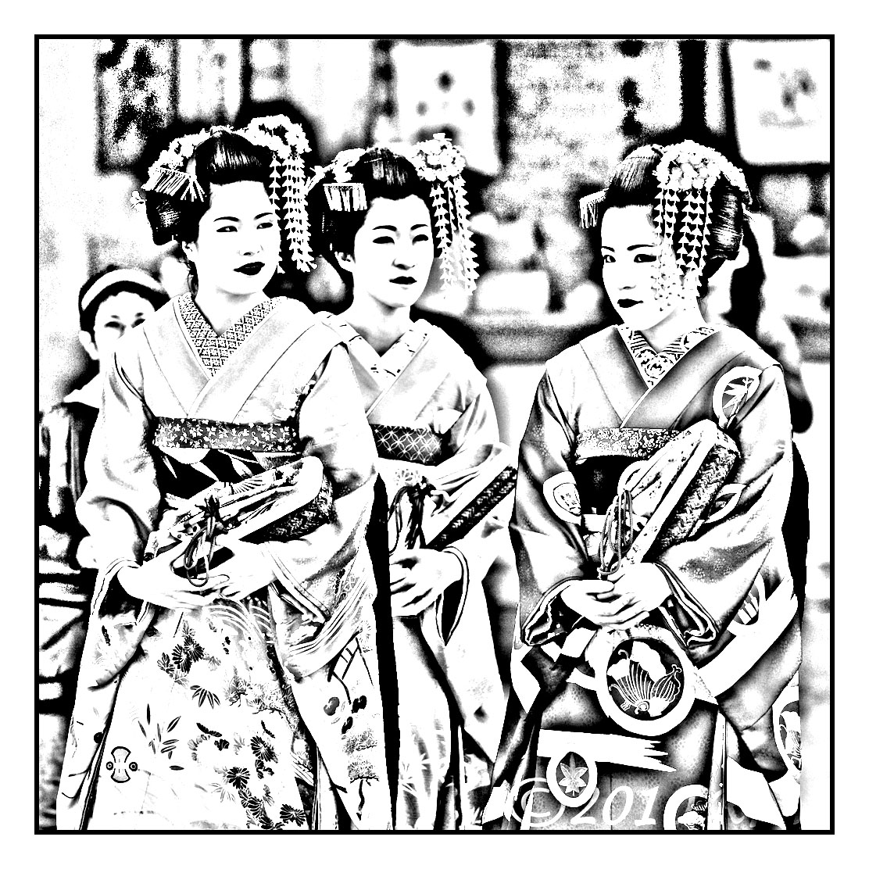 Coloriage original réalisé à partir d'une photographie de japonaises en tenue traditionnelle