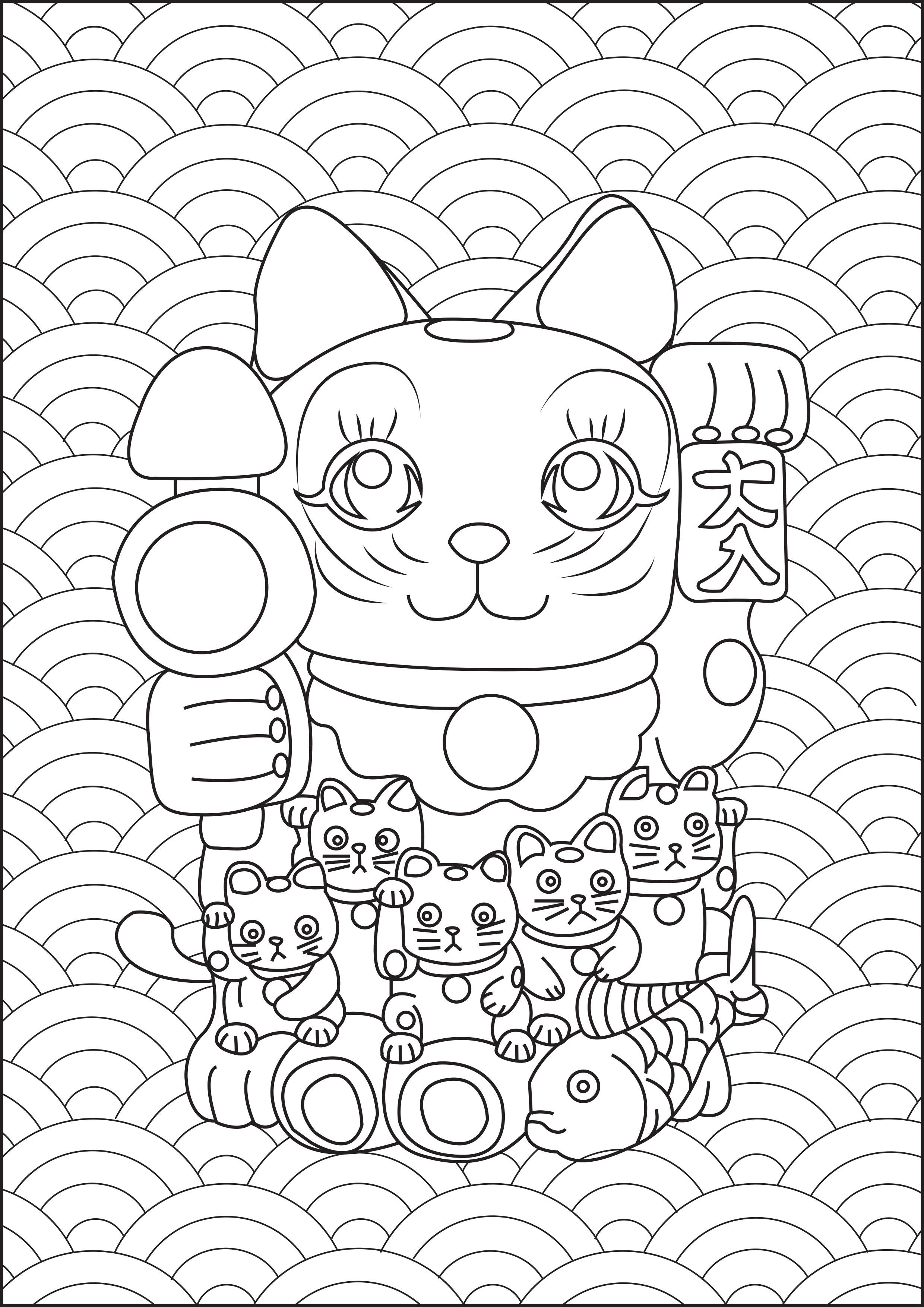 Ne sont t'il pas mignons ces petits Maneki Neko à genoux sur un plus gros ? ... Ajoutez-leur des couleurs !
