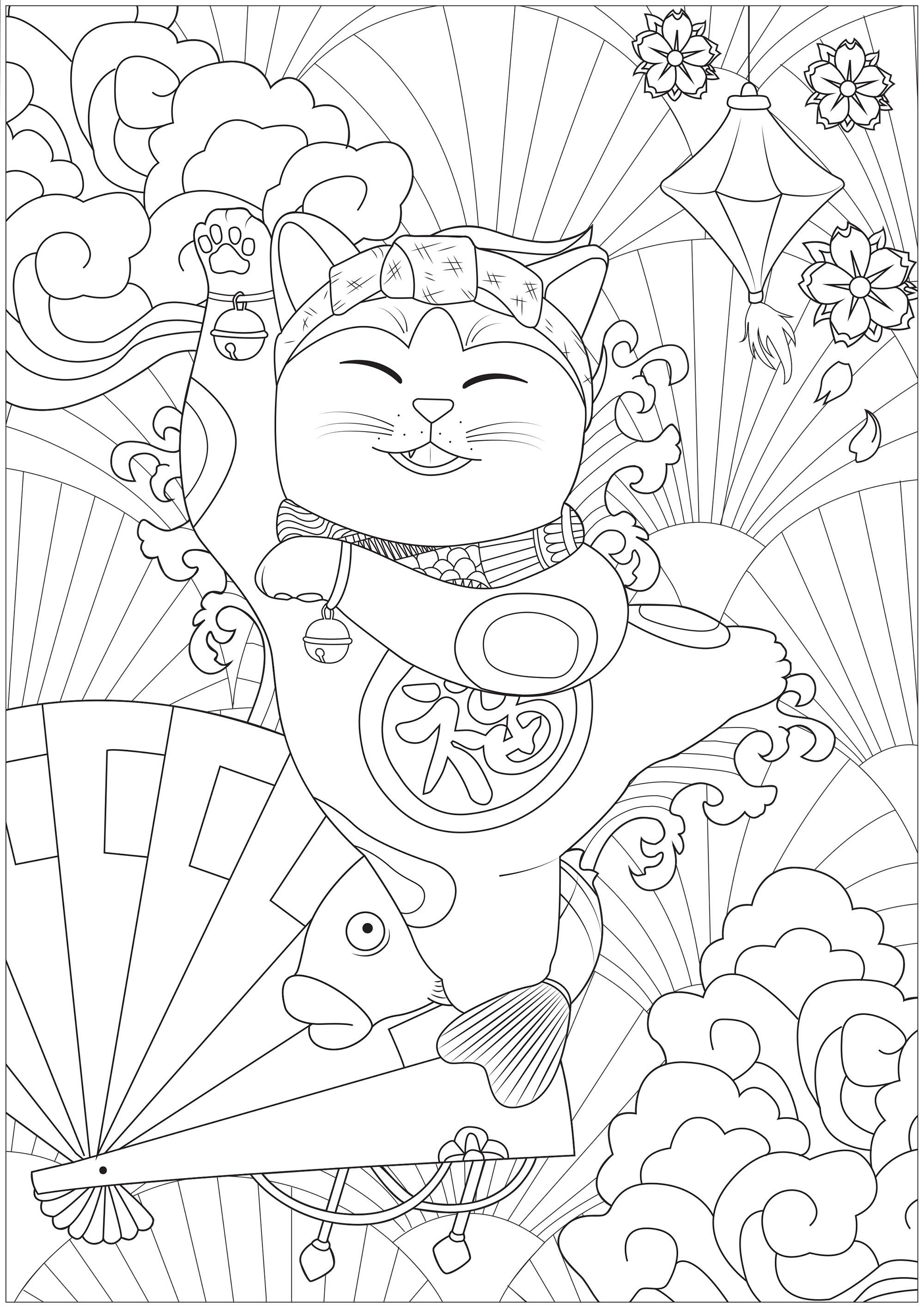 Un joyeux Maneki Neko faisant la fête devant différents symboles du Japon : lanterne, la Grande Vague, fleurs de cerisiers, éventails ...