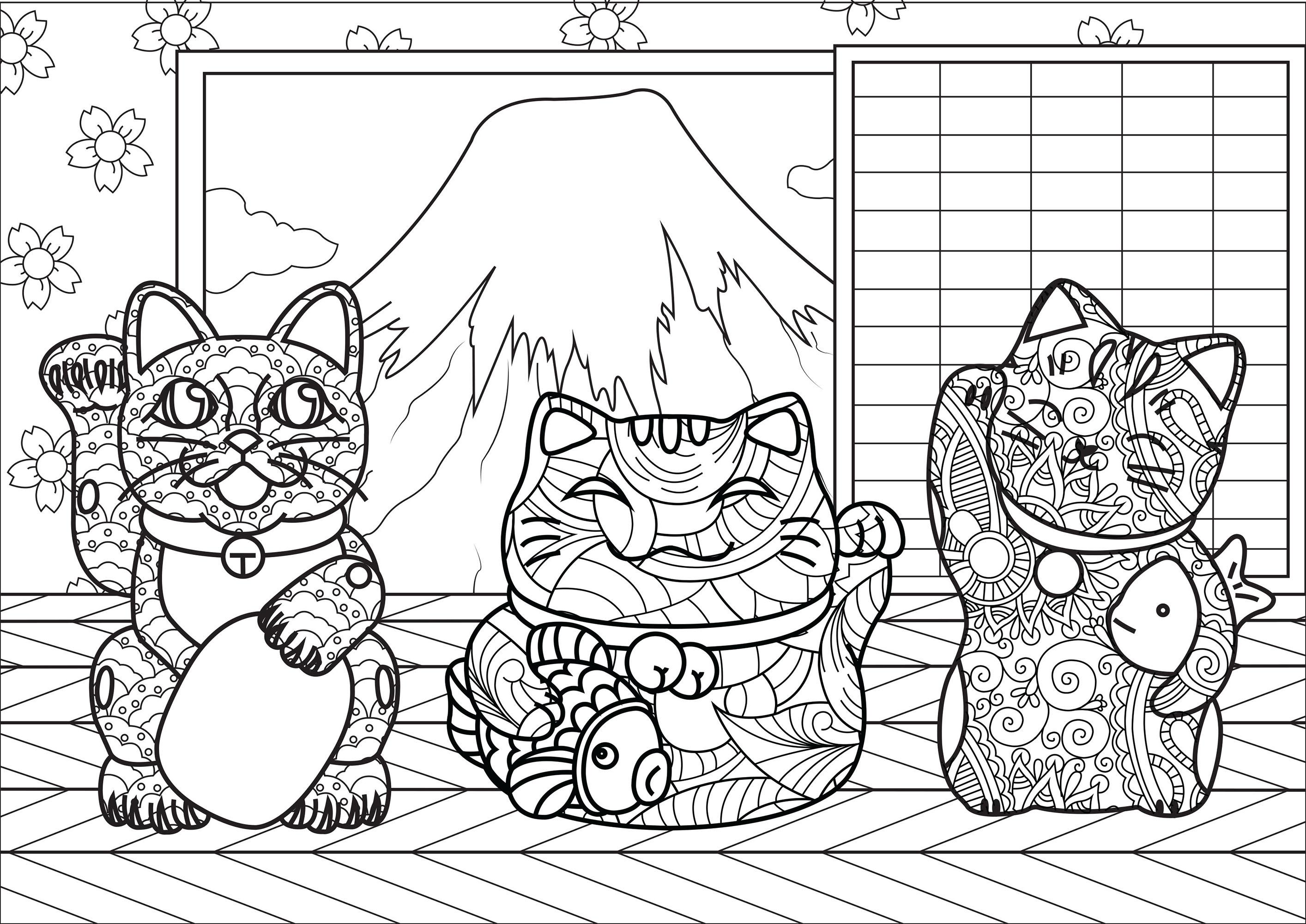 Chats Maneki Neko avec motifs complexes, dans une petite maison près du Mont Fuji au Japon