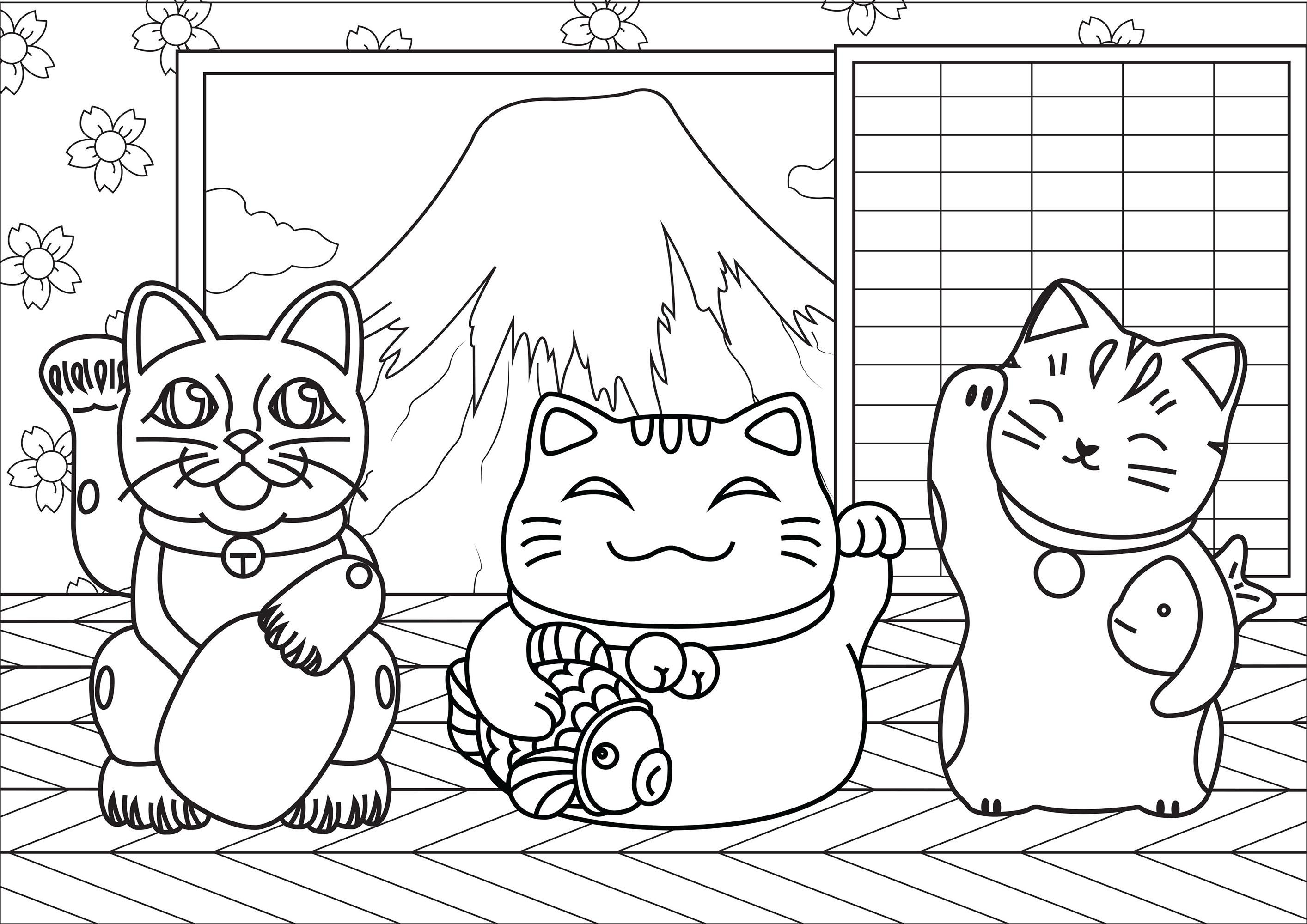 Coloriez ces trois chats Maneki Neko, dans une jolie maison devant le mont Fuji