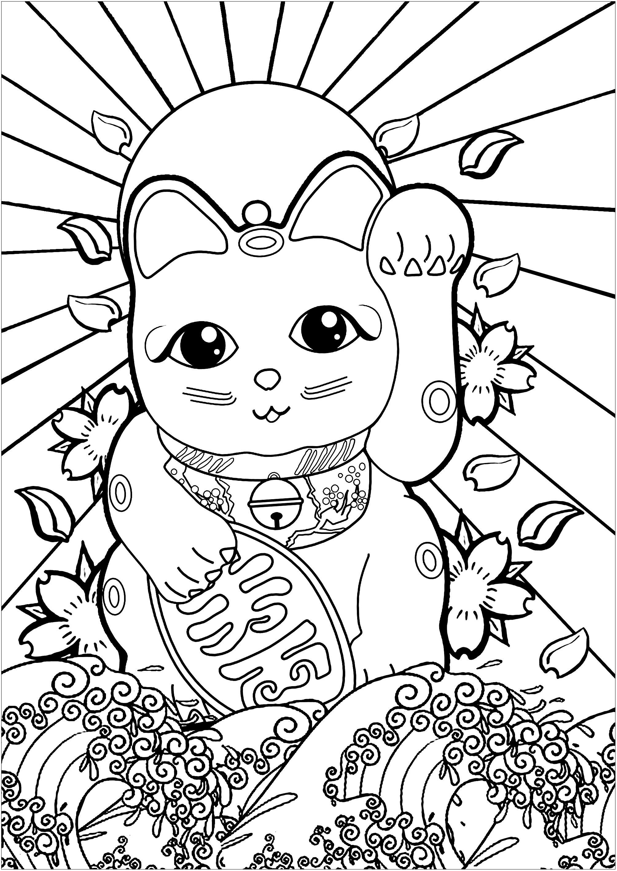 Maneki Neko avec d'autres symboles du Japon : Drapeau du soleil levant, fleurs de cerisier et la Grande Vague de Kanagawa !