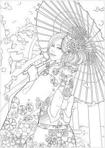Japonaise célébrant le Hanami   version facile