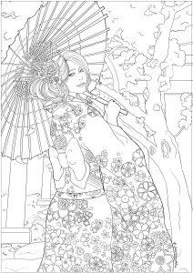 Japonaise célébrant le Hanami