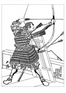 coloriage adulte Tsukioka Yoshitoshi Minamoto no Tametomo avec un arc