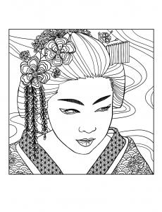 coloriage adulte geisha visage par mizu