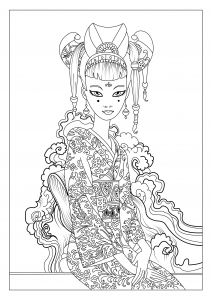 Coloriage adulte japon celine 1