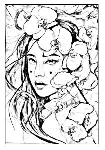 Coloriage geisha japonaise a imprimer
