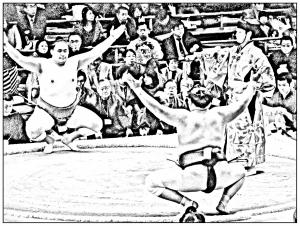 Coloriage japon sumo 3