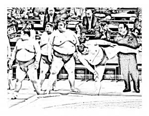 Coloriage japon sumo 4