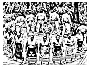 Coloriage japon sumo