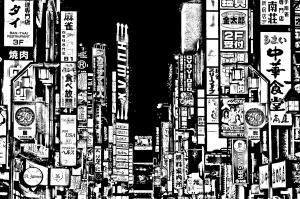 Coloriage japon tokyo ville enseignes