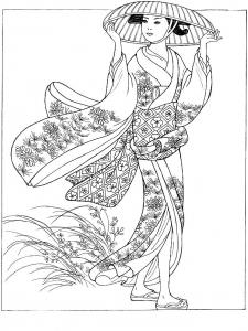 coloriage japonaise avec chapeau
