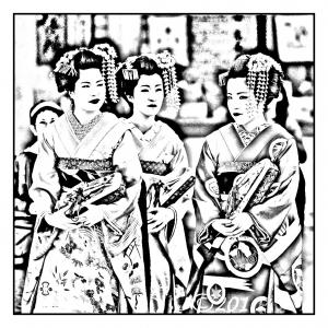 Coloriage japonaises maquillage traditionnel