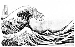 Coloriage la grande vague kanagawa
