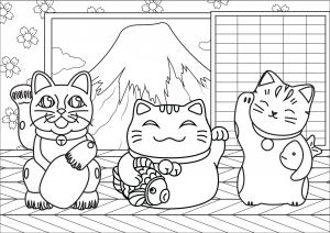 Maneki Neko avec Mont Fuji (version simple)