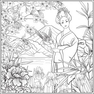 Paysage japonais et jolie femme en kimono