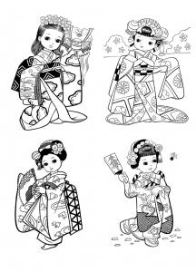 Coloriage petites japonaises style enfantin