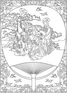 coloriage scene de vie traditionnelle japon