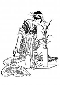coloriage-japon-tenue-traditionnelle-herboriste free to print