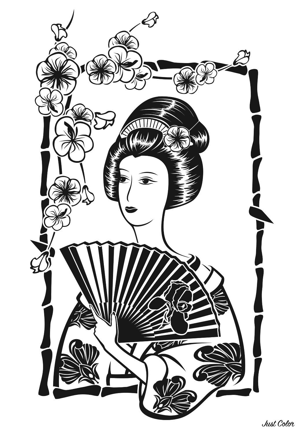 Japonaise avec son éventail, devant fleurs de cerisier