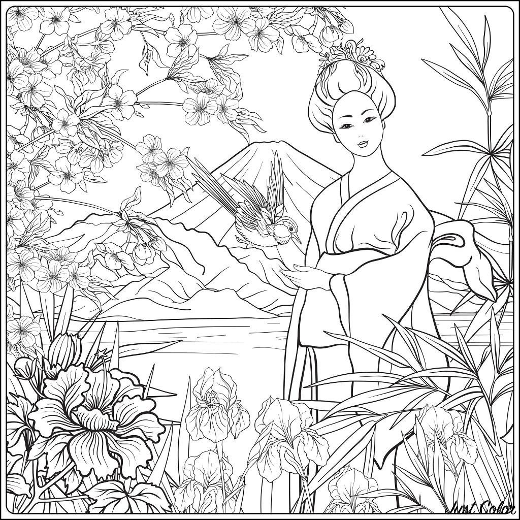 Paysage japonais avec femme japonaise, fleurs traditionnelles et un oiseau. Mont Fuji et mer en arrière-plan