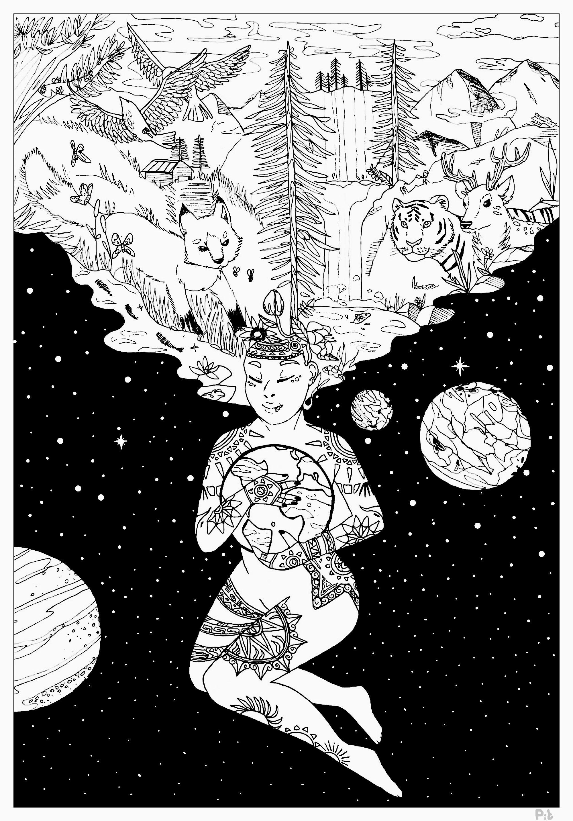 Magnifique coloriage sur le thème de la journée de la Terre. La déesse du Soleil tient la planète dans ses bras et crée la vie