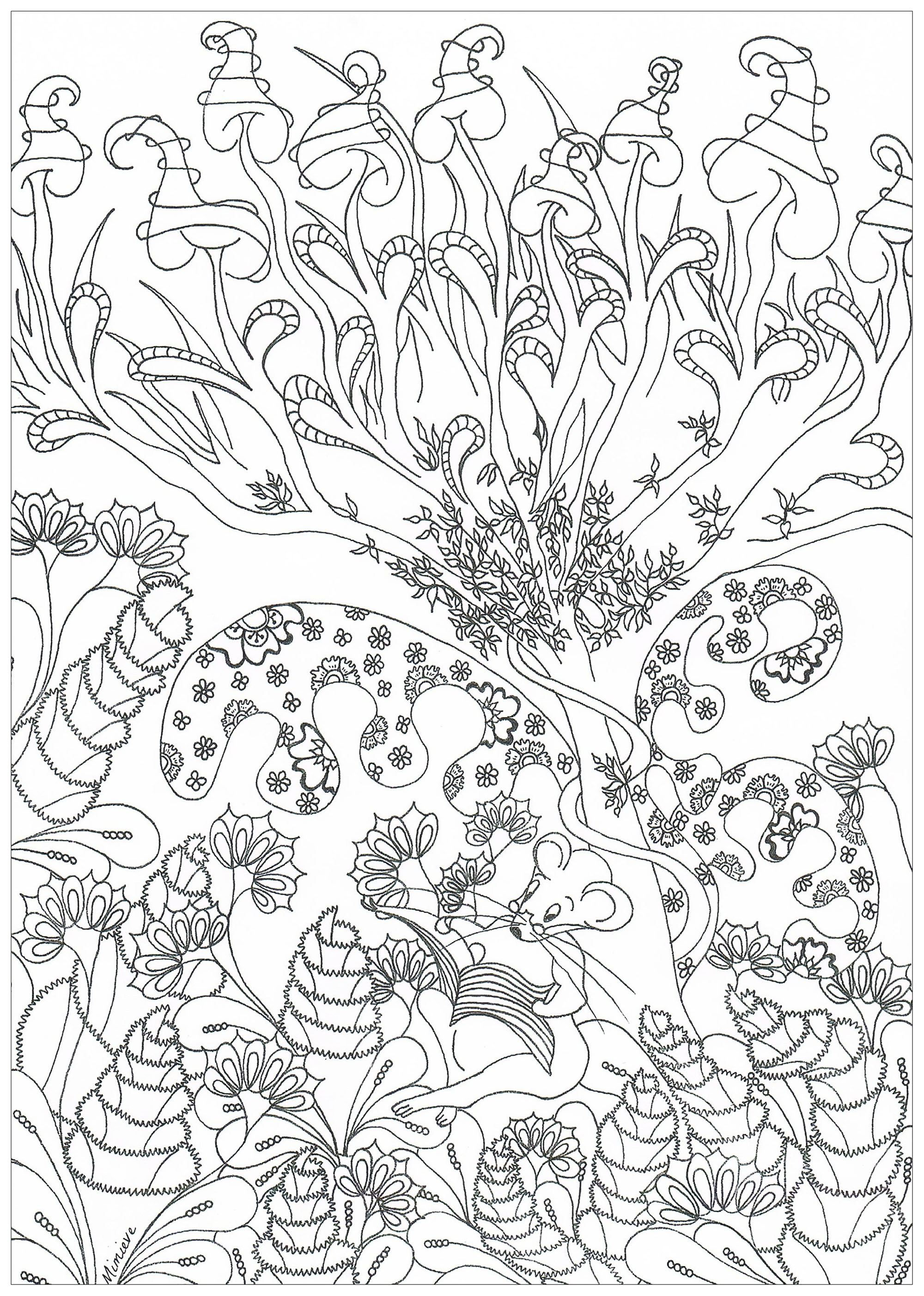 For t enchant e jungle et for t coloriages difficiles pour adultes - Dessin de foret ...