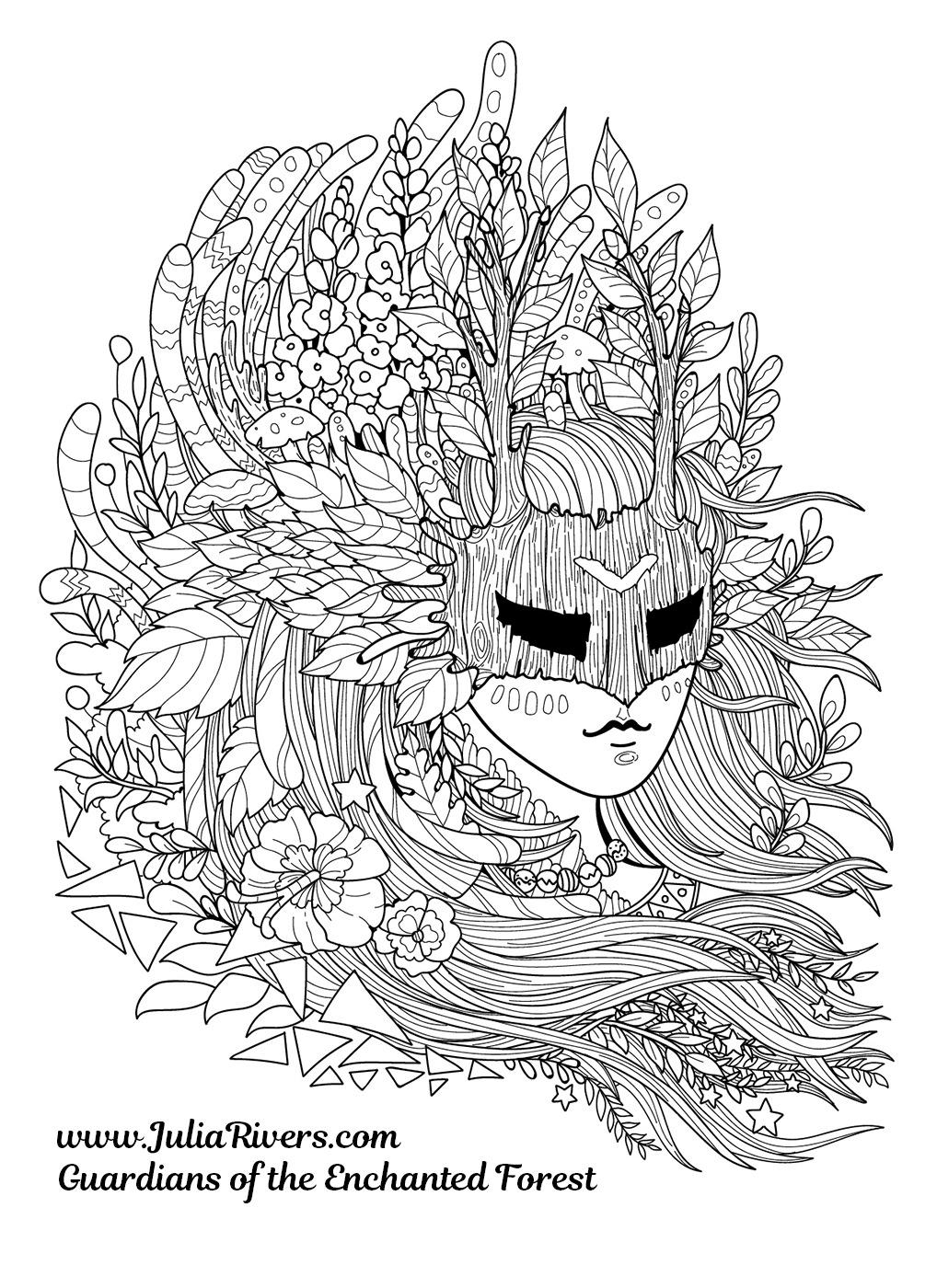 'Gardiens de la Forêt Enchantée' : Coloriage représentant une étrange créature masquée, avec une chevelure composée de fleurs, feuilles et champignons