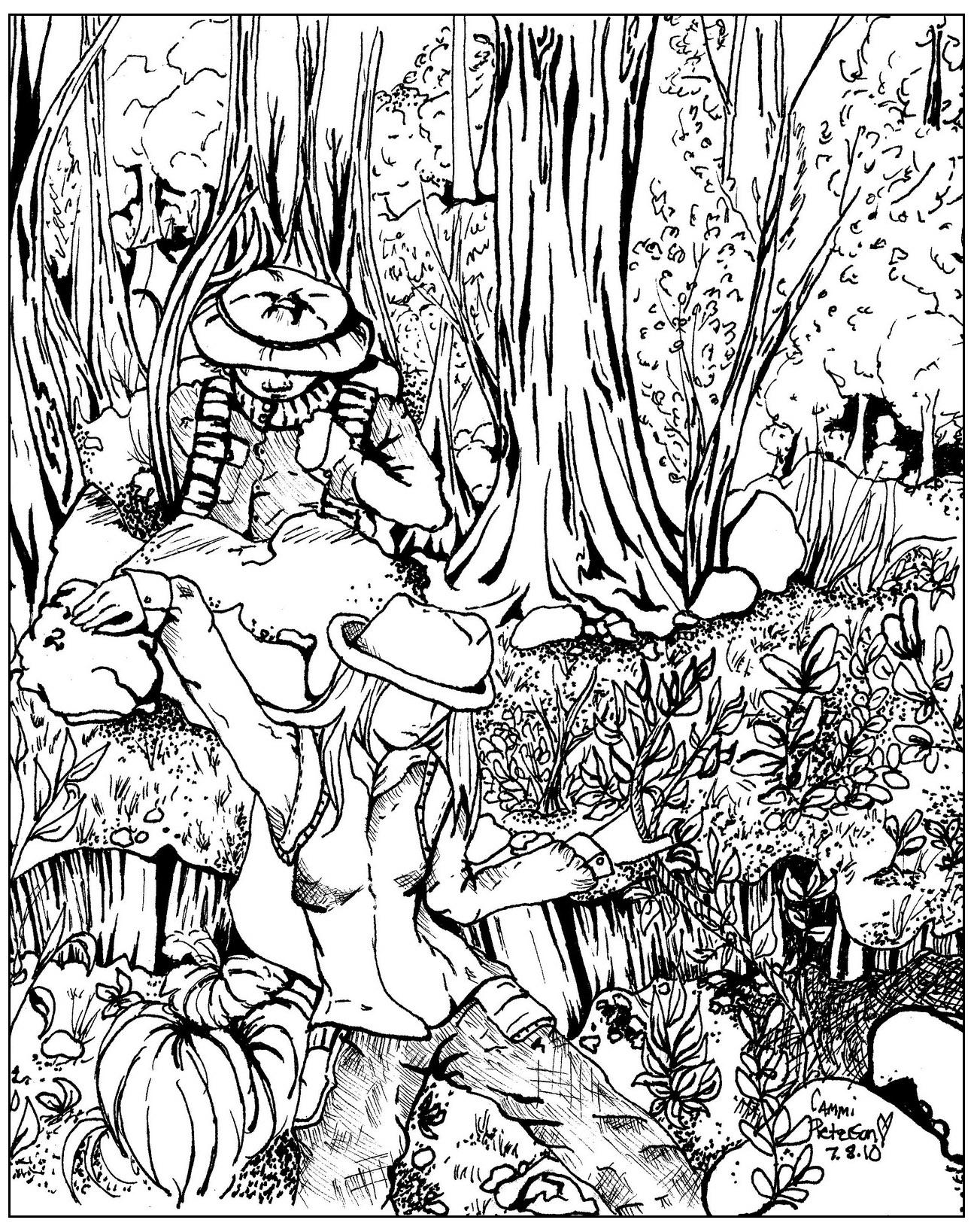 Ce coloriage pourrait s'appeler 'Perdus dans la forêt !'