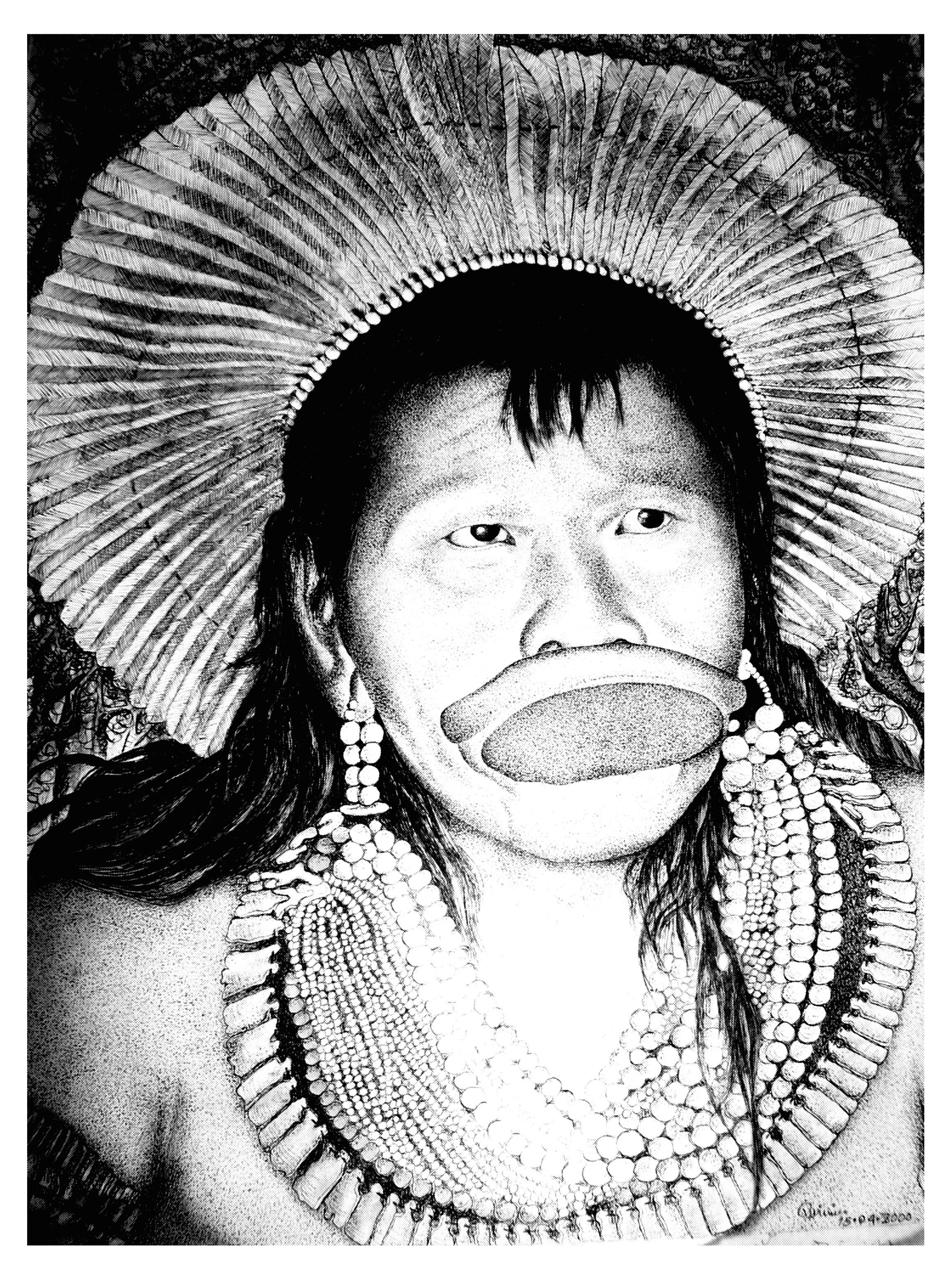 Coloriage du célèbre Raoni, chef des Kayapo en Amazonie   A partir de la galerie : Jungle Et Foret