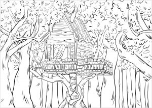 Coloriage enfants dans une cabane dans les bois